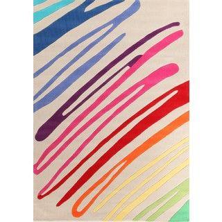 100% Soft Acrylic Paint Strokes Rug - Cream with Neon - 220x150cm