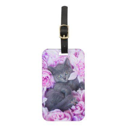 #Slater Kitten Purple Floral Bag Tag - #floral #gifts #flower #flowers