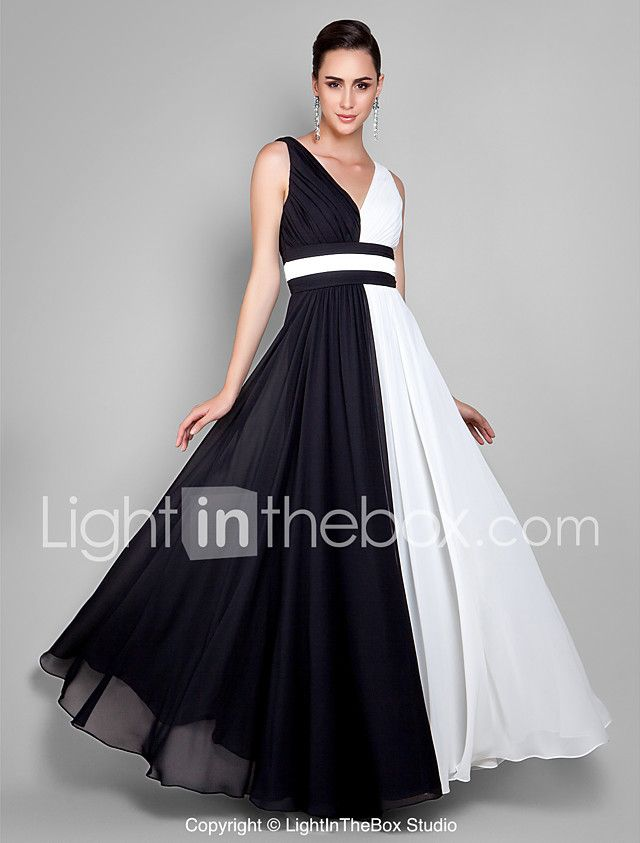 Sheath / Column V-neck Ankle Length Chiffon Prom Formal Evening Military Ball Dress with Draping Side Draping by TS Couture® 2017 - €67.67