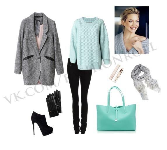 Мятный свитер+серый шарф/снуд, большое серое пальто