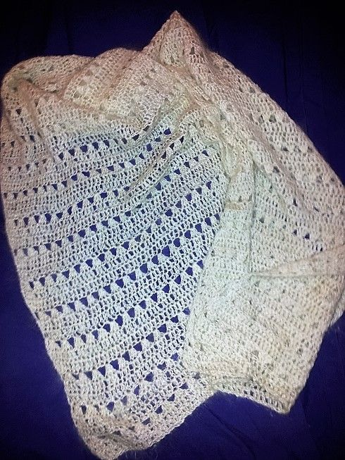 Hand spun mohair crocheted lace wedding shawl