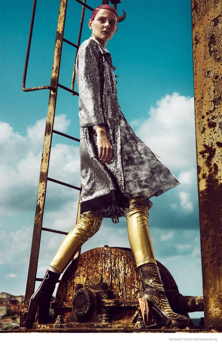 Abbie Weir wears metallics and embellished fashion set against an industrial landscape. Shot by Richard Ramos for Madame Figaro Spain