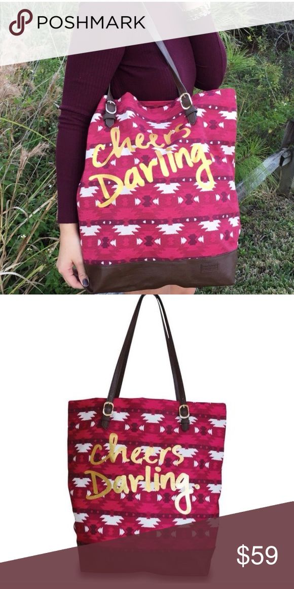 "Canvas X-LARGE Aztec Shoulder Bag Printed 17""X5""x16"" Aztec Printed XL USA Made Tote Bag Printed Cheers Darling Fun Shoulder Handbag. Use as purse, etc. great christmas gift/present idea for moms sisters mothers grandmother friend co worker secret santa gold letters Runandwine Bags Totes"