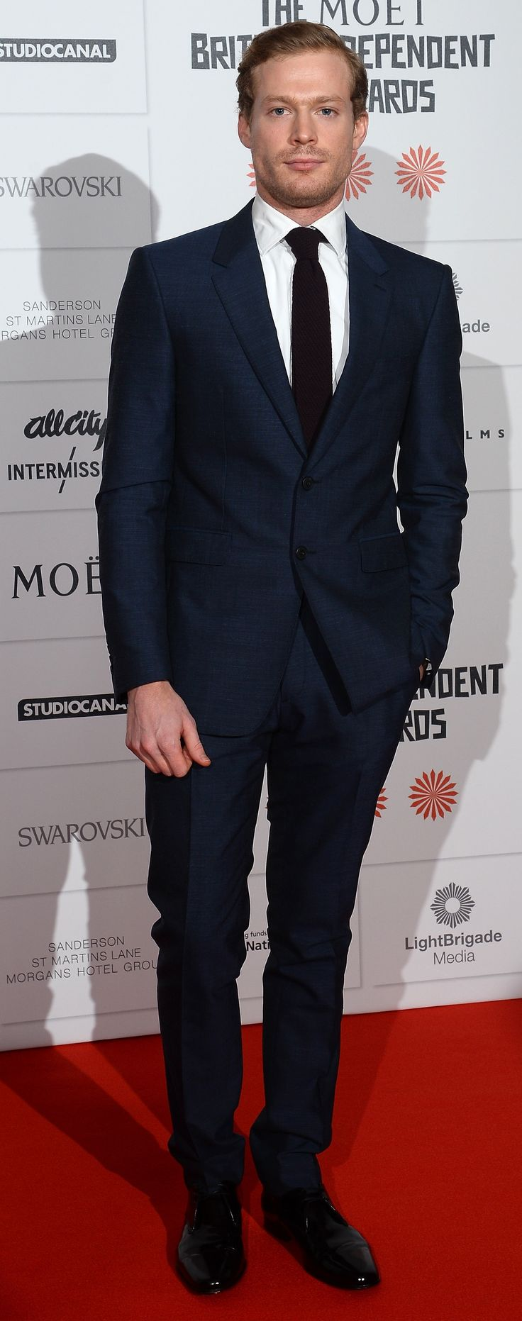 Australian actor Sam Reid wearing Burberry tailoring to attend the British Independent Film Awards in London