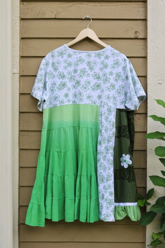 3X Green floral Women's Tunic Dress Upcycled by SaidoniaEco