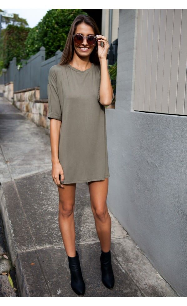 Loyal Tee Dress Khaki - Dresses - Clothing