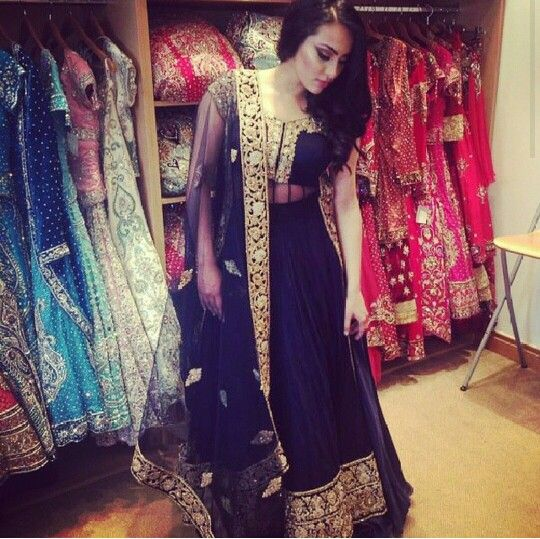 Black and Gold Lehenga style suit.