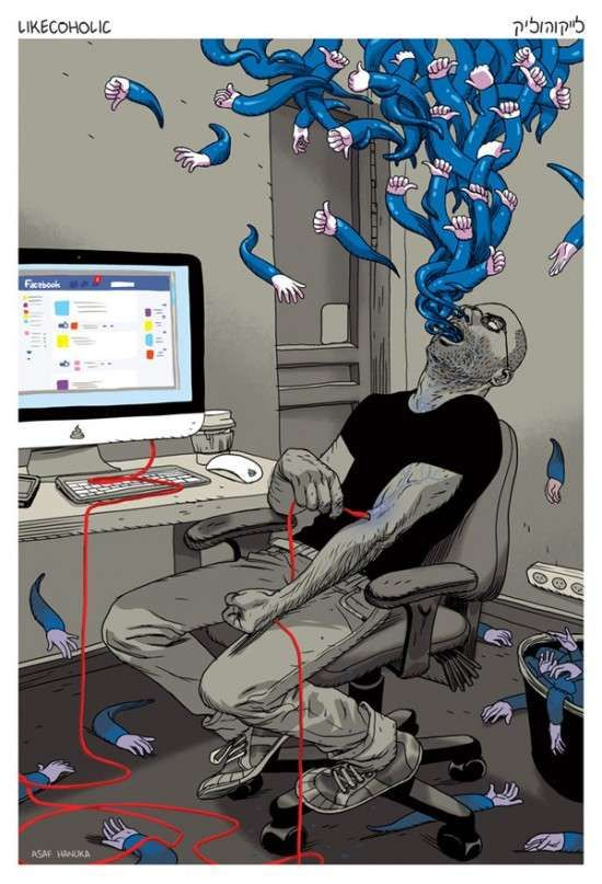 The Asaf Hanuka 'Likecoholic' Illustration Shows Social Media  #Facebook #socialnetwork