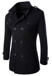 Turn-Down Collar Epaulet Design Double Breasted Long Sleeve Woolen Peacoat For Men (BLACK,L) | Sammydress.com Mobile