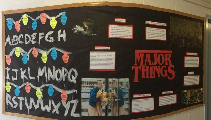 My residents told me that my Feburary bulletin board was their favorite! Choosing a major! Based on the Netflix show Stranger Things  peer mentor, ra, res life, reslife, residential life, bulletin boards, resident advisor, resident assistant, residential life, residence life