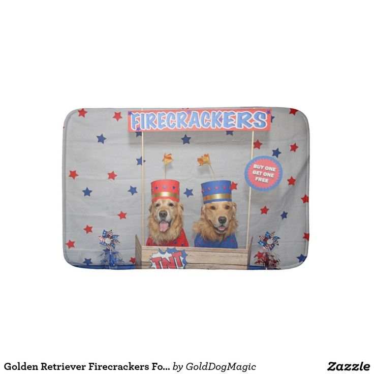 Golden Retriever Firecrackers For Sale Bath Mats