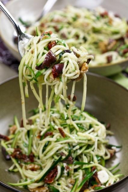 Spaghetti with zucchini, sundried tomatoes,  walnuts, kalamata olives, garlic, salt,  black pepper, extra-virgin olive oil, goat cheese, fresh parlsey).
