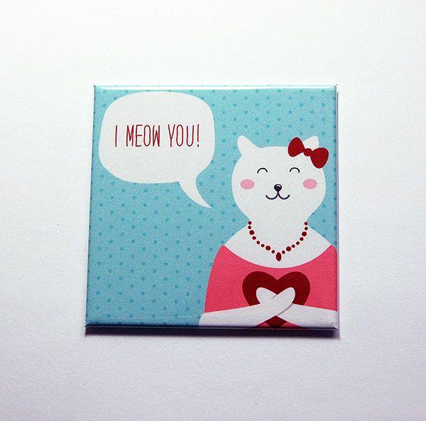 Valentine Magnet, I meow you, Valentine's Day Magnet, Fridge magnet, magnet, Love, cat, Blue, love magnet, cute valentine magnet (7136) by KellysMagnets on Etsy