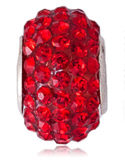 Charms boule strass rouge