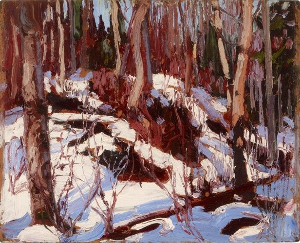 Tom Thomson - Winter Thaw in the Woods 8.5 x 10.5 Oil on panel (1916)