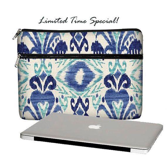 SUPER SALE  13 inch Laptop Sleeve /  Macbook Pro 13 Case / 13 Macbook Air Bag /  Macbook Pro Retina Case / Zipper Pocket Ikat blue (RTS)