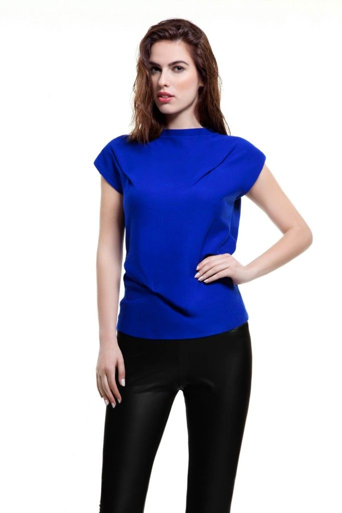 SARTORIAL   Chryssomally    Art & Fashion Designer - Asymmetrical electric blue top and leatherette pants
