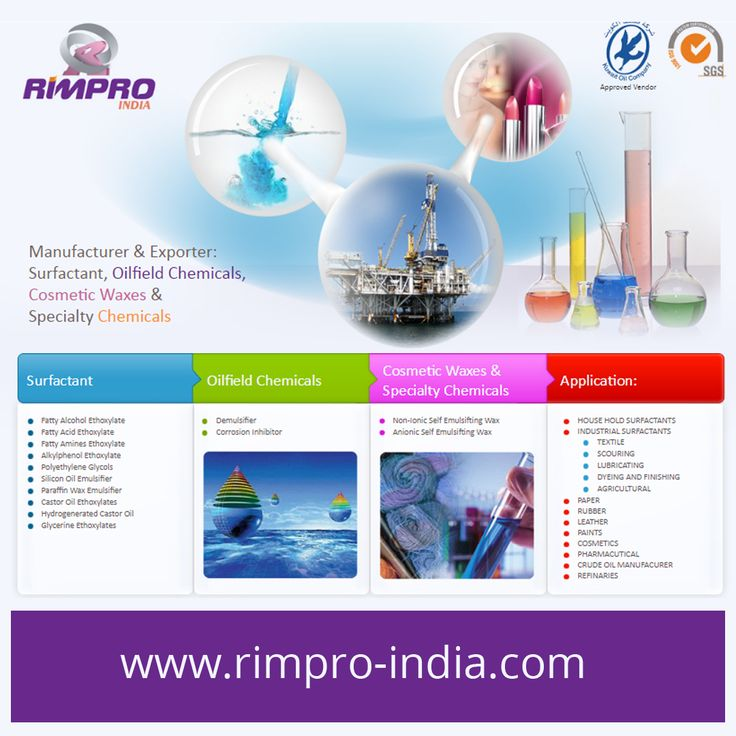 Manufacturer & Exporter of Surfactant, Oilfield Chemicals, Cosmetic Waxes & Specialty Chemicals - http://www.rimpro-india.com/