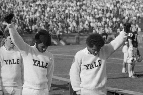 Yale Cheerleaders Giving Black Power Salute