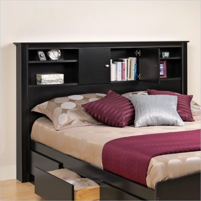 Accessories & furniture,Alluring Bedroom With Black Wooden Bed Frame Feat Black Wooden Bookcase Headboard And Drawer Storage Complete With King Size Bed Combine Polka Dot Patter Bedding Set Feat Ash Wooden Flooring Design,Cool Bookcase Headboards For Your Bedroom Design Ideas