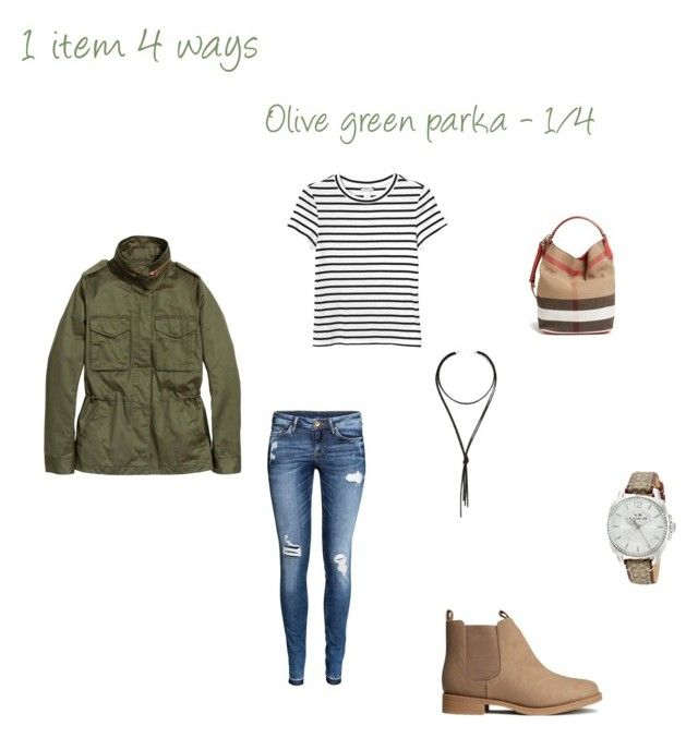 """""""Spring essentials: Olive green parka - 1/4"""" by niki-1hourforme on Polyvore featuring Monki, H&M, Lulu*s, Coach and Burberry"""