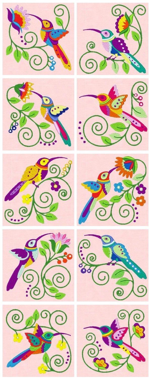 Embroidered Jacobean Hummingbirds: