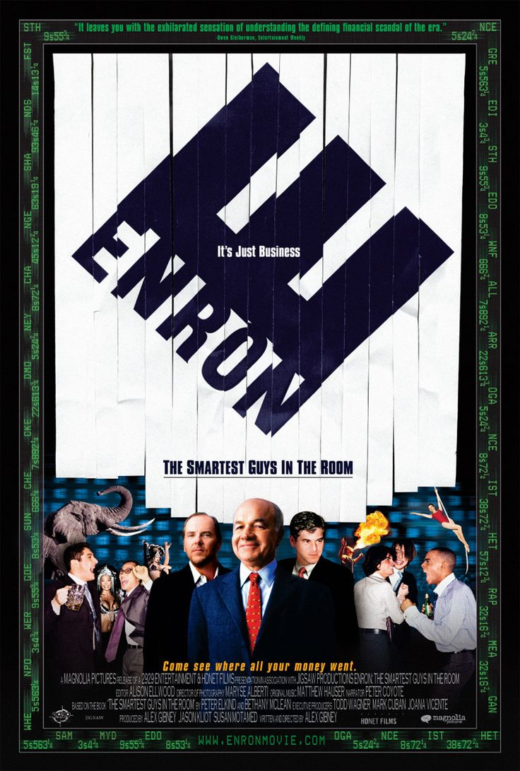 Enron: The Smartest Guys in the Room. Film. One of the greatest scandals in American corporate history is chronicled in the riveting documentary. The film is an epic morality tale, drawing upon a wealth of insider interviews and archival material to show how Enron, once the nation's seventh largest corporate entity, essentially faked its bookkeeping to report profits that never existed.