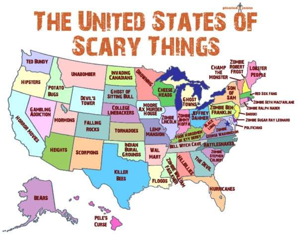 A map of scary things according to state.  Cheeseheads! That is just too funny! Be scared of me fellow pinnners, for I am a feared Cheesehead!!!!!! Mwahahahahaha!