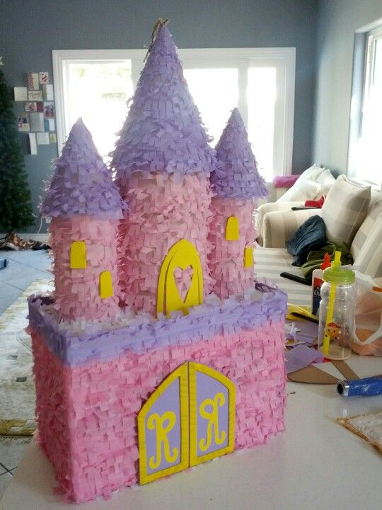 Princess Castle pinata purple pink and yellow