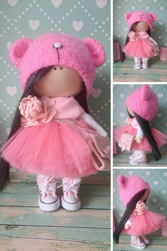 Pink doll Muñecas Art doll Fabric doll Rag by AnnKirillartPlace