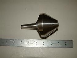 """Bull  Nose Center by jjr2001 -- Here is a rather large (for me) bull nose ball bearing center. It is 3"""" in diameter with a Morse Taper 2 shank. The MT2 is machined out of one piece of steel along with the bearing hub. I should have taken some pics of that part prior to assembly to show how the bearing is retained. I will try to explain it: First off the inner race of the bearing is an interference fit to the shaft. I froze the shaft and warmed the bearing (no grease yet). It is a good…"""