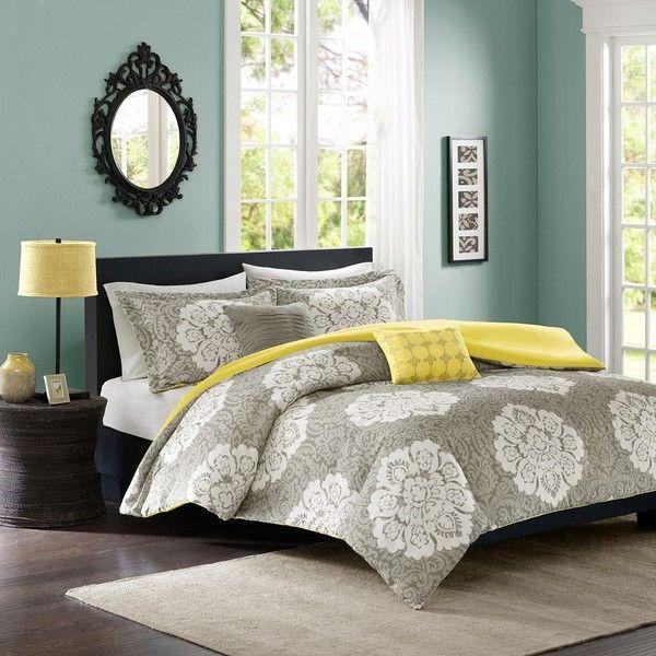 intelligent design liliana duvet set grey 130 liked on polyvore featuring home california king setsduvet