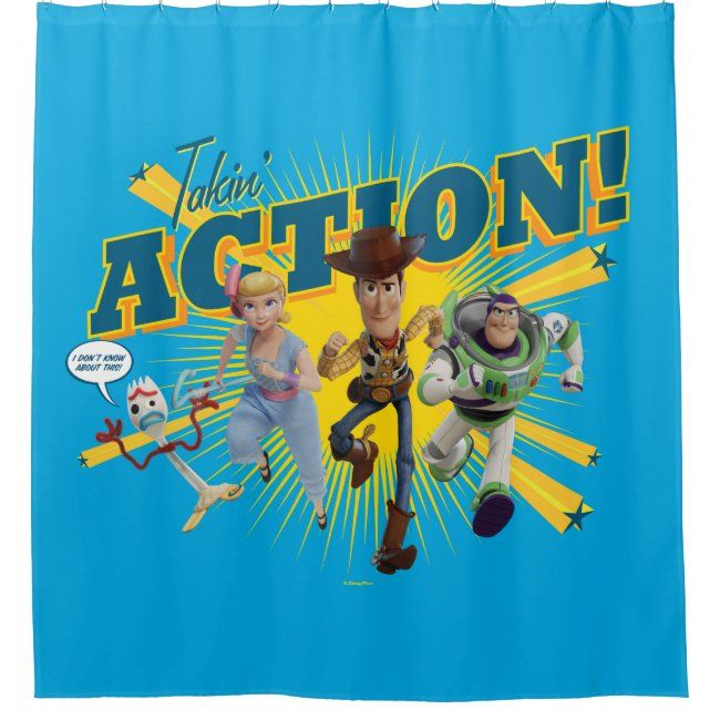 Toy Story 4 Takin Action Group Art Shower Curtain Affiliate