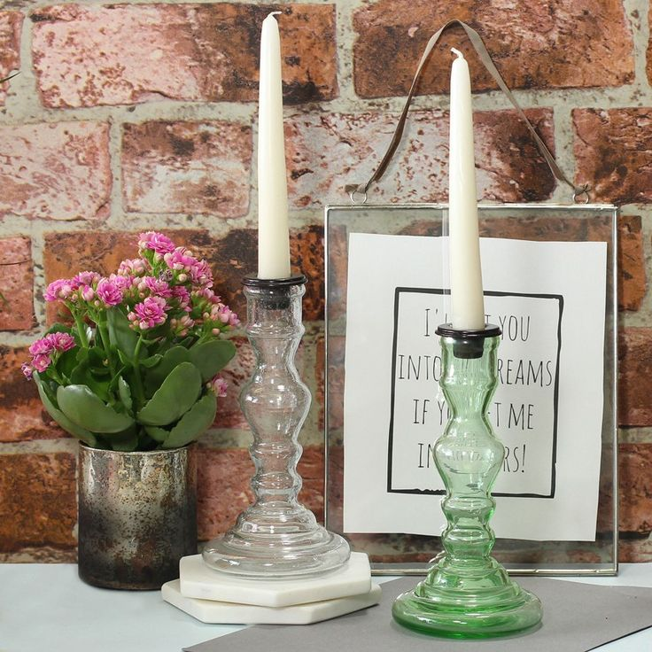 Clear Recycled Glass Candlestick: The glass with it's slight bubble effect gives this traditionally shaped candlestick a modern twist. With the variety of coloured candles out there so this stand will sure compliment any colour scheme and can give your home an instant lift.
