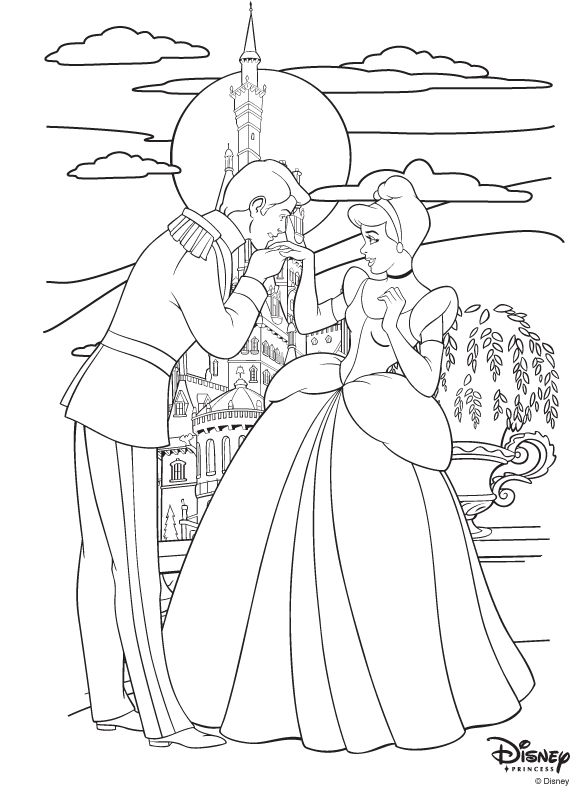 Cinderella and prince charming Print for coloring table or