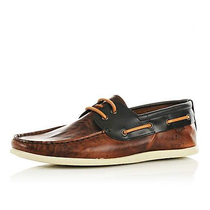 Fancy - brown slim boat shoes - casual shoes - shoes / boots - men - River Island
