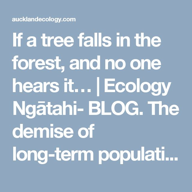 If a tree falls in the forest, and no one hears it… | Ecology Ngātahi- BLOG. The demise of long-term population monitoring.