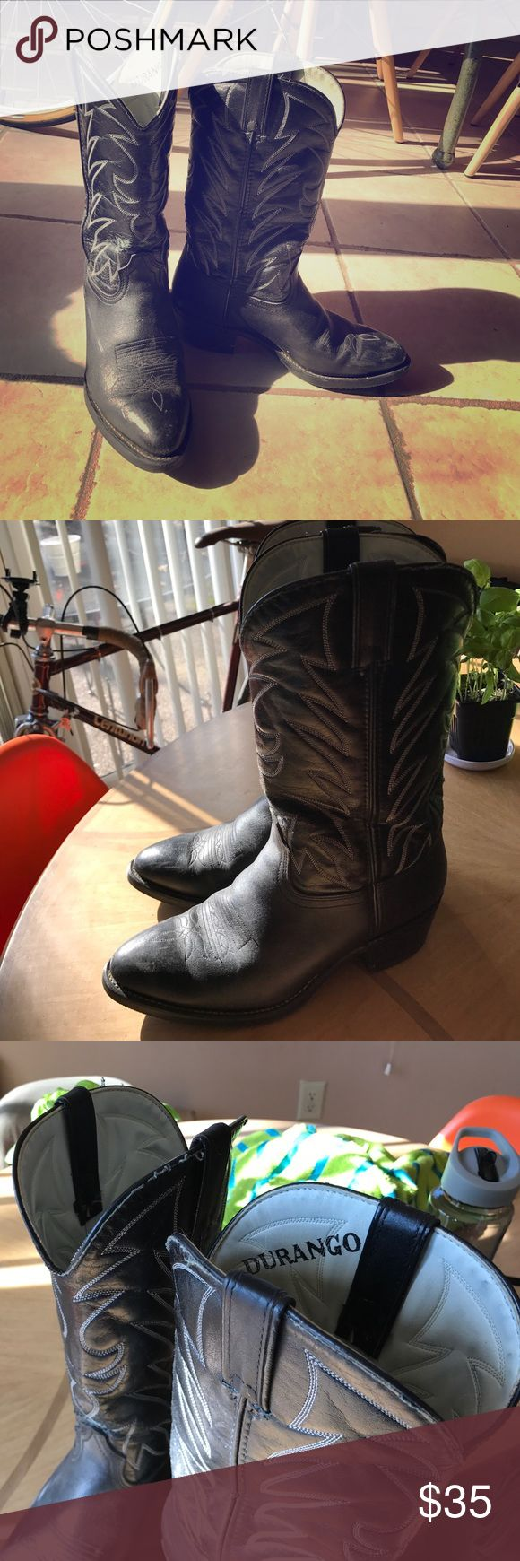 Women's Cowgirl Boots Size 10 Durango Cowgirl Boots, Size 10, Color:Black with White detail stitching Durango Shoes Heeled Boots
