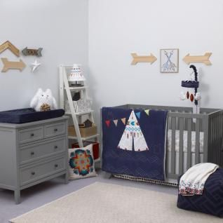Show off your southwestern spirit with the tribal-inspired NoJo Teepee Southwestern-Style Crib Bedding Collection! This set starts with a double-sided comforter featuring a colorful, native teepee against a navy backdrop with white geometric patterns and an adorable owl and squirrel on one side, and solid cream sherpa on the other. Turn the comforter down to reveal a coordinating fitted crib sheet patterned with a geometric tribal symbol in shades of turquoise, tan, and brown. A cream dust…