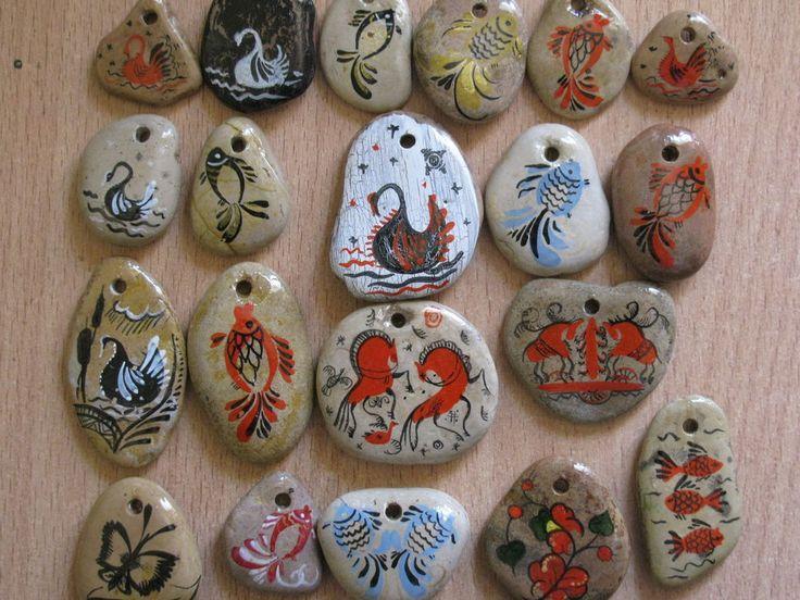 Купить подвеска из камня - сувенир, подвеска, роспись по камню, мезенская роспись, материалы для украшений, камень