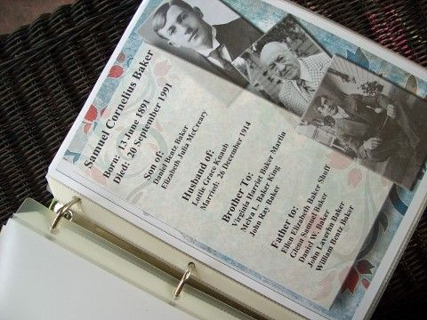 Inspirational idea for keeping summary pages about ancestors. ~ Cool!