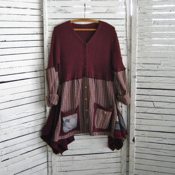 Upcycled Tunic L-XXL, Upcycled Clothing, Recycled Sweater, Sweater Tunic, Size L-XXL