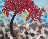 Flame Tree BYOB painting class at www.whimsyartstudio.com