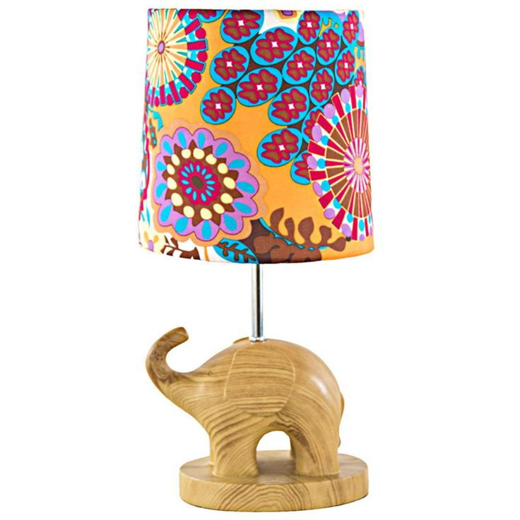River of Goods Electric Elephant Wood Grain Accent Table Lamp - 15260