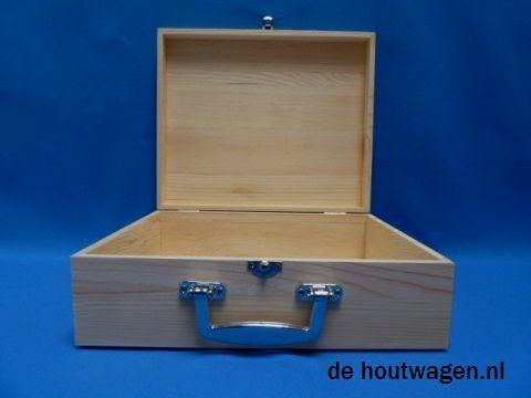 houten koffer met metalen handvat groot 30x25x10 - verjaardagskoffer