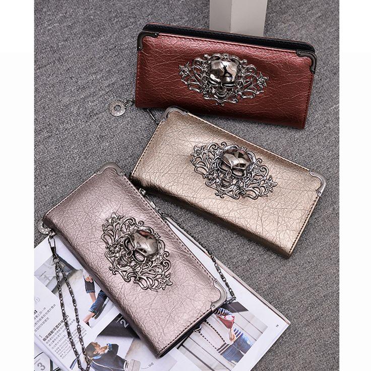 $12.93 (Buy here: https://alitems.com/g/1e8d114494ebda23ff8b16525dc3e8/?i=5&ulp=https%3A%2F%2Fwww.aliexpress.com%2Fitem%2Fwomen-PU-leather-skull-wallets-punk-style-women-purses-fashion-clutches-females-money-bags-high-quality%2F32722887720.html ) women PU leather skull wallets punk style women purses fashion clutches females money bags high quality  for just $12.93