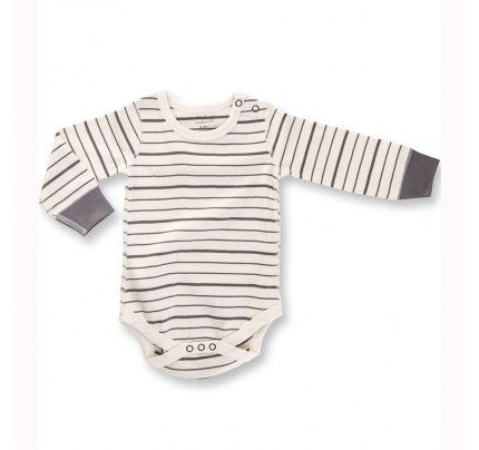 Charcoal French Stripe LS Bodysuit from Sapling Child's L'Abeille (Honey Bee) collection