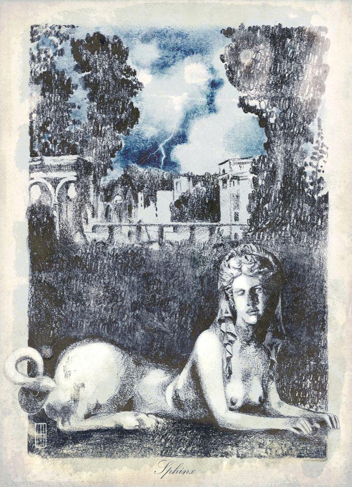 """""""Sphinx"""" - Lápiz y pastel - Ilustración de Martillo"""