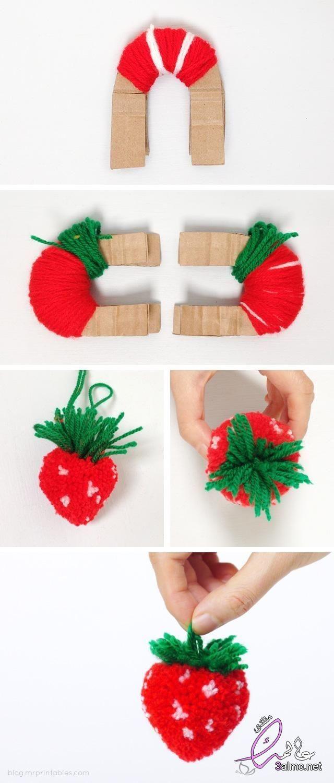 اعمال فنية بالخيوط بالخطوات اشغال فنية بالخيوط للاطفال اعمال يدوية بالخيط سهلة اعمال يدوية بالصوف Pom Pom Crafts Cute Crafts Crafts