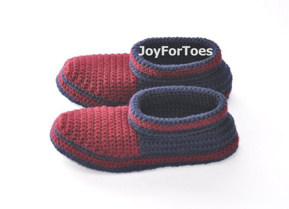 Crochet Slippers Men Boots for the House Shoes Home slipper soles felt Father's Day Gift for him slippers joyfortoes Colorful Custom Made